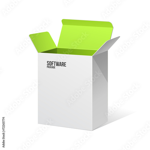 Software Package Box Opened White Inside Green - 72263774