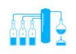 Blue distillation kit on white background