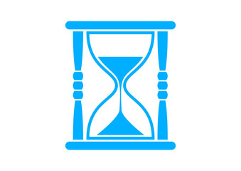 Blue hourglass icon on white background
