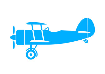 Blue aircraft icon on white background