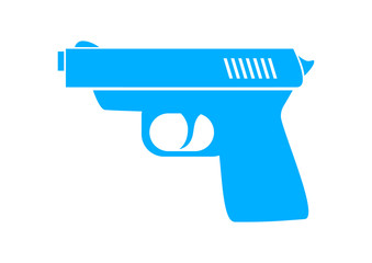 Blue gun icon on white background
