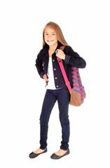 Schoolgirl with backpack.