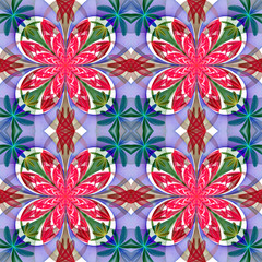 Fabulous symmetrical pattern of the petals. Pink, blue and green