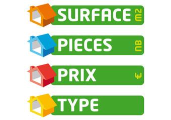 immobilier - Surface - Pièces - prix - type