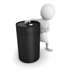 white 3d man with black oil barrel