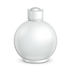 Cosmetic Or Hygiene Grayscale White Round Plastic Bottle Of Gel