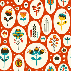 Seamless pattern with colorful flowers on red background.