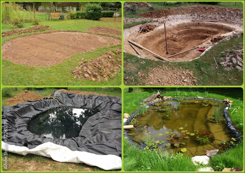 Construction d'un bassin de jardin - 72265395