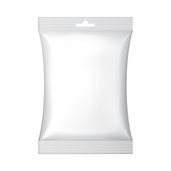 White Blank Foil Food Snack Sachet Bag Hang Slot Packaging