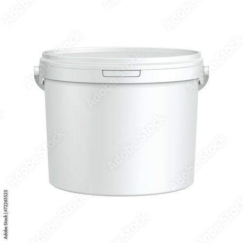 Opened White Tub Paint Plastic Bucket Container - 72265523