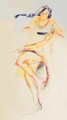 Drawing on paper of Bulgarian dancing folklore girl