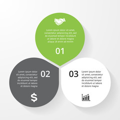 Business circle infographic, diagram, presentation 3 steps