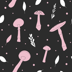 Dark background with pink mushrooms. Whimsical seamless pattern