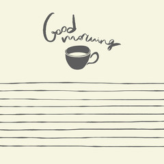 Notepad template design. Good morning hand drawn illustration