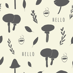 Cute seamless pattern. Background with mushrooms and leaves