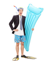 Joyful businessman with diving equipment