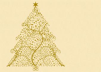 Weihnachtsbaum gebildet aus Flourishmuster, Punkten, Sternen