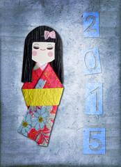 2015, japanese paper  kokeshi doll greeting card