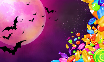 Halloween banner with colorful candies falling