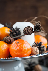 Close up Christmas Composition with Tangerines