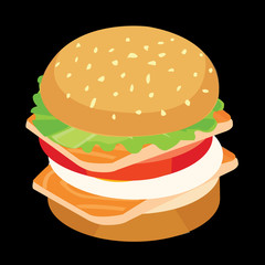 fastfood. tuna burger. concept vector illustration