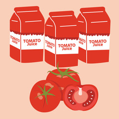 tomato juice carton box. vector illustration.
