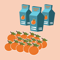 orange juice carton box. vector illustration.