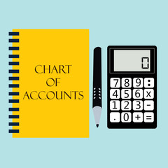 financial accounting with calculator. vector illustration