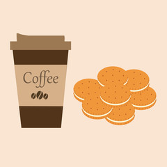 cup of coffee with biscuits, vector illustration