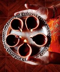 Plate of Diyas - Celebrations of diwali