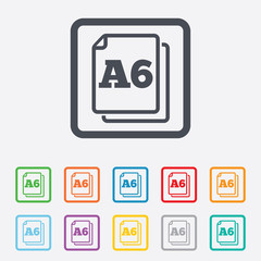 Paper size A6 standard icon. Document symbol.