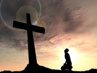 Conceptual religion cross with a man
