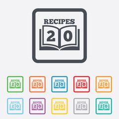 Cookbook sign icon. 20 Recipes book symbol.