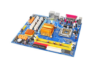 Printed computer motherboard, isolated on white background