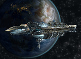 Fototapety Spaceship leaving Earth for interstellar deep space travel