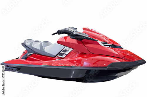 Red jet ski isolated on white