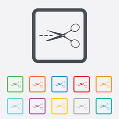 Scissors with cut line sign icon. Tailor symbol.