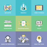 Fototapety Distance education flat icons set