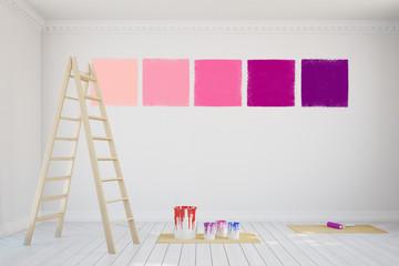 Muster für Wandfarbe während Renovierung