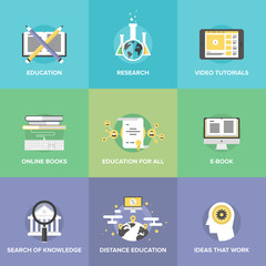 Distance education flat icons set