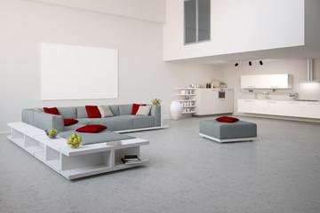 Moderner Loft mit grauer Sitzecke