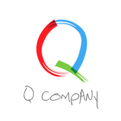 Vector initial letter Q, scrawled text