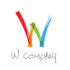 Vector initial letter W, scrawled text
