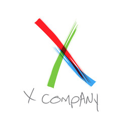 Vector initial letter X, scrawled text
