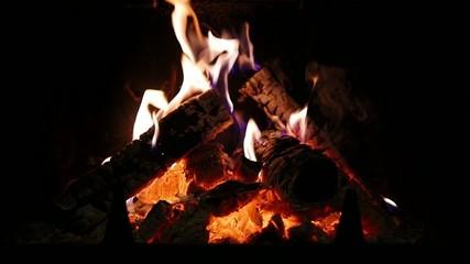 Fireplace. Slow-mo