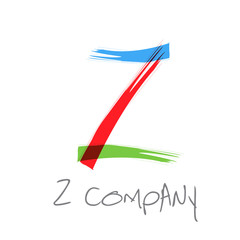Vector initial letter Z, scrawled text
