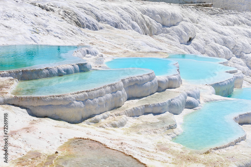 Plagát Travertine pools and terraces in Pamukkale, Turkey