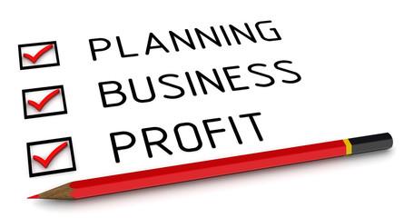 Планирование, бизнес, прибыль. Отмеченные пункты и карандаш