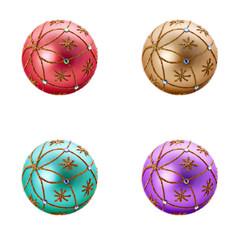 Set of four Luxurious christmas balls