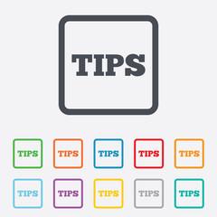 Tips sign icon. Service money symbol.